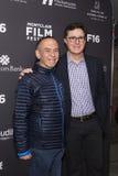 Gilbert Gottfried och Stephen Colbert på premiären på den Montclair filmfestivalen 2016 Arkivfoto