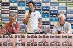 Gilberto Simoni, Pietro Gottardi, Remo Mosna. Gilberto Simoni cyclist at Giro d'Italia 2010. Press conference for his new book Gibo d'Italia (text by Pietro Stock Photo
