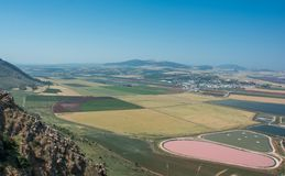 Panoramic view on the valley from mountain ridge royalty free stock photography