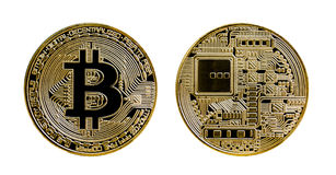 Gild bitcoin coin isolated on white background. Bitcoin is a modern way of exchange and this crypto currency is a convenient means of payment in the financial royalty free illustration