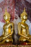 Gild Buddha Sculpture at Ancient Veranda of Wat Suthat, Bangkok of Thailand. Royalty Free Stock Photos