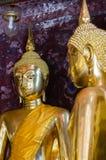 Gild Buddha Sculptures at Ancient Veranda of Wat Suthat, Bangkok of Thailand. Veranda of hundreds gild Buddha sculptures is a landmark of Wat Suthat is a great Stock Photos
