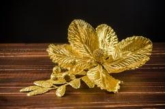 Gild flower ornament for christmas decocration stock photo