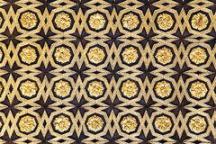 Gild wallpaper in Alcazar palace. In Seville, Spain stock photos