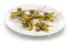 Gilda, alimento spagnolo dei tapas fotografia stock