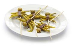 Gilda, comida española de los tapas foto de archivo