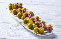 Gilda pinchos with olives and anchovies tapas Stock Image