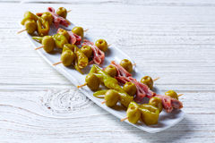 Gilda pinchos with olives and anchovies tapas Royalty Free Stock Photography