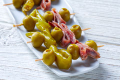 Gilda pinchos with olives and anchovies tapas Stock Photography
