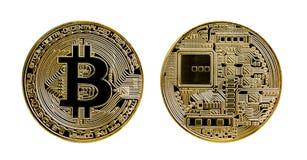 Gilde bitcoin muntstuk op witte achtergrond wordt geïsoleerd die royalty-vrije illustratie