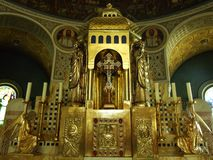 Gilded altar of the Christian church royalty free stock photo