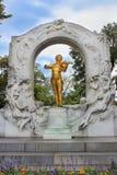 Gilded bronze monument of Johann Strauss in Stadtpark in Vienna Stock Image