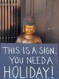 Gilded Buddha Holding Sign Stock Photos