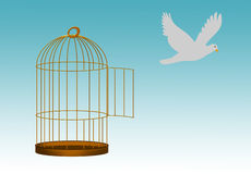 Gilded cage escape concept, freedom metaphor. Whiter dove flies free from gilded cage Stock Photography