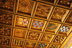 Gilded coffered il soffitto, palazzo di Casa de Pilatos, Siviglia, Spagna Immagine Stock Libera da Diritti