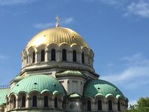 Gilded and copper domes on Sofia cathedral Royalty Free Stock Photography