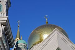 Gilded dome and crescent moon Muslim mosque royalty free stock photography
