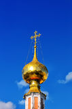 Gilded dome and cross of Russian Orthodox Church Royalty Free Stock Images