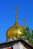 Gilded dome and cross of Russian Orthodox Church stock photos