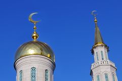 Gilded dome and spire Muslim mosque royalty free stock image