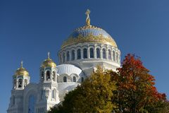 Kronstadt, the Naval Cathedral. Kotlin Island. Gilded domes of the Kronstadt cathedral cathedral.  The Naval cathedral of Saint Nicholas in Kronstadt  is a Royalty Free Stock Images