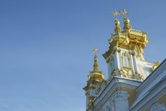 Gilded domes of orthodox church on a background dark blue sky Royalty Free Stock Photo