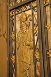 Gilded Door--Cathédrale Marie-Reine-du-Monde Stock Photo