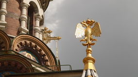 Gilded eagle on the facade of the Church of the Savior on Blood stock video footage