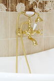 Gilded faucet with shower heads in empty bathroom. Stock Photo