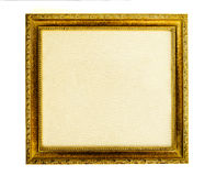 Gilded frame with empty canvas Stock Photos