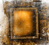 Gilded frame on grunge. Background Stock Photo