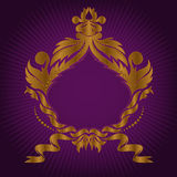 Gilded frame on lilac. Vintage gilded emblem on purple background Stock Photos