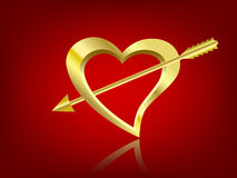 Gilded heart and arrow. Illustration golden heart and cubid arrow Stock Images