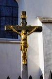 Gilded Jesus on the cross, Jihlava, Czech Republic Stock Images