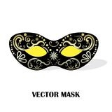 Gilded  mask. Carnival background with one decorated carnival mask on white background,  illustration Royalty Free Stock Images