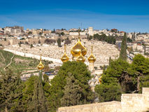 Gilded onion domes. Cityscape of Jerusalem with the gilded onion domes of the church of Mary Magdalene in the foreground royalty free stock images