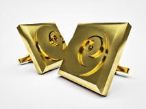 Gilded pair cufflinks. Pair cufflinks gilded with engraved golden ratio  on white background Royalty Free Stock Photography
