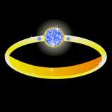 Gilded ring with diamond Stock Photos