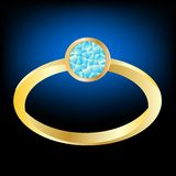Gilded ring with jewels. Gilded ring with diamond on black background Stock Photo