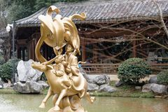 Gilded sculpture-A corner of the park. Shengjin tower brick Pavilion style tower Jiangnan typical, 50.86 meters high tower, the tower for the seven layer eight Stock Photography