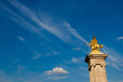 Gilded sculpture on Pont Alexandre III in Paris of Royalty Free Stock Image