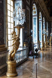 Gilded sculptured guéridons, Hall of Mirrors, Versailles Stock Photos