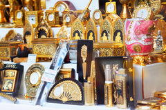 Gilded tourist souvenirs  in Toledo Royalty Free Stock Photo