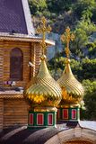Gilded towers wooden Orthodox church in central Spain Royalty Free Stock Image