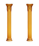 Gilded two columns isolated on white background Royalty Free Stock Photography