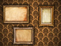 Gilded vintage frames on damask wallpaper Royalty Free Stock Image