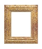 Gilded wooden frame with clipping path included. Gilded wooden frame isolated on white background with clipping path included royalty free stock photo