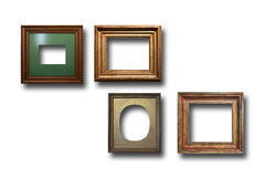 Gilded wooden frames for pictures on isolated background Stock Image