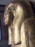 Gilded Wooden Mummy Coffin Lid from Ancient Egypt Royalty Free Stock Images