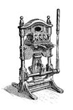 Gilding machine for book decoration, vintage engraving Royalty Free Stock Images
